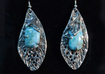 Larimar Earrings created with PMC