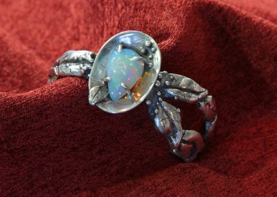 Opal Leaf in sterling Bracelet